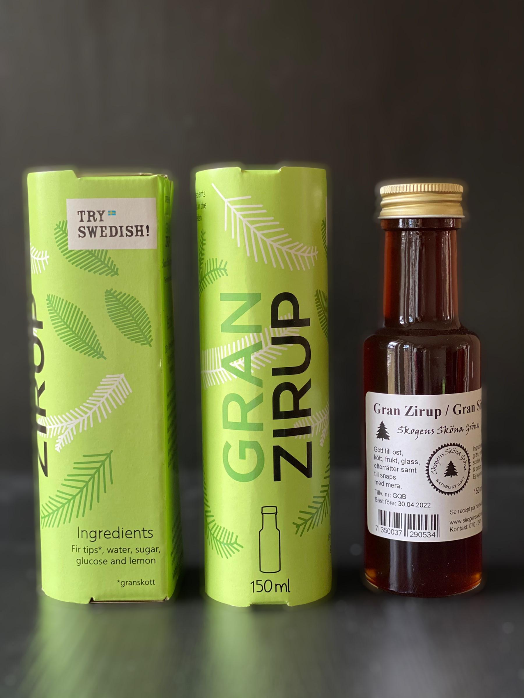 1 flaska Gran Zirup 150 ml i omslutande grönbox